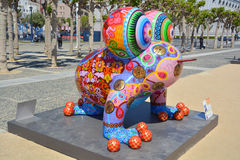 Colorful scuplture. SAN FRANCISCO CA USA APRIL 14 2015: Colorful scuplture by Hung Yi was officially unveiled in San Francisco's Civic Center. It features 19 Royalty Free Stock Images