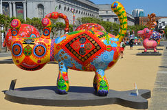 Colorful scuplture. SAN FRANCISCO CA USA APRIL 14 2015: Colorful scuplture by Hung Yi was officially unveiled in San Francisco's Civic Center. It features 19 Royalty Free Stock Image