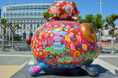 Colorful scuplture. SAN FRANCISCO CA USA APRIL 14 2015: Colorful scuplture by Hung Yi was officially unveiled in San Francisco's Civic Center. It features 19 Royalty Free Stock Photos
