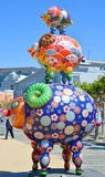 Colorful scuplture. SAN FRANCISCO CA USA APRIL 14 2015: Colorful scuplture by Hung Yi was officially unveiled in San Francisco's Civic Center. It features 19 Stock Images