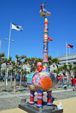 Colorful scuplture. SAN FRANCISCO CA USA APRIL 14 2015: Colorful scuplture by Hung Yi was officially unveiled in San Francisco's Civic Center. It features 19 Stock Image