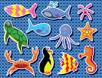 Colorful sea animals Stock Photos