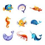 Colorful Sea Animals Set Stock Image