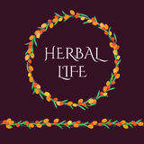 Colorful sea buckthorn wreath with herbal life lettering inside it Stock Photo