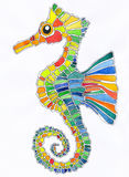 Colorful sea horse. Doodle drawing Stock Photo