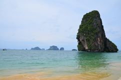 Colorful sea in Krabi Thailand. Colorful sea and rock mountain in Krabi Thailand Royalty Free Stock Images