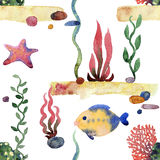 Colorful  Sea pattern. Colorful Sea pattern. Seamless sand seaweed stones pattern watercolor Stock Images