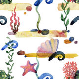 Colorful  Sea pattern. Colorful Sea pattern. Seamless sand seaweed stones pattern watercolor Royalty Free Stock Photography