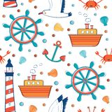 Colorful sea pattern. Colorful sea seamless pattern. Vector illustration Stock Image