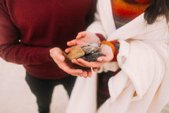 Colorful sea pebbles on couple's hands close up. Happy young couple at the winter beach wrapped in white blanket Stock Images