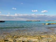 Colorful sea at a private island stock image