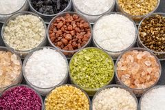 Colorful sea salts collection Stock Photo