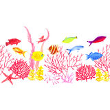 Colorful sea world vector horizontal seamless banner Stock Photography