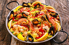 Colorful Seafood Paella Dish with Shellfish Royalty Free Stock Photos