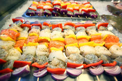 Colorful seafood skewers Royalty Free Stock Photos