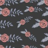 Colorful seamles flower pattern in black backdrop. Colorful art seamles flower pattern in black backdrop Royalty Free Stock Photo