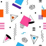 Colorful seamless abstract geomertic pattern - modern material design background. In retro memphis style. Template for wrapping paper, fabric, cover of books royalty free illustration