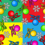 Colorful seamless background with Christmas toys. And snowflakes Royalty Free Stock Images