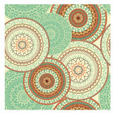 Colorful seamless background with circular ornaments in ethnic style. Royalty Free Stock Photo