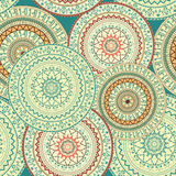 Colorful seamless background with circular ornaments in ethnic style. Royalty Free Stock Photography