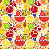 Colorful seamless background. Different fruits and berries. Vector illustration Stock Images