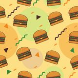Colorful seamless background with hamburger vector pattern royalty free stock photos