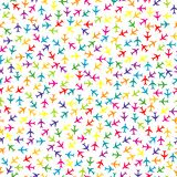 Colorful seamless background with planes stock illustration