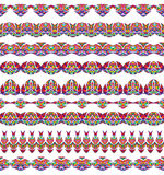 Colorful Seamless Borders lines set. Ethnic striped pattern background in bright colors. Vector illustration. Royalty Free Stock Photo