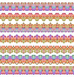 Colorful Seamless Borders lines set. Ethnic striped pattern background in bright colors. Vector illustration. Royalty Free Stock Photography