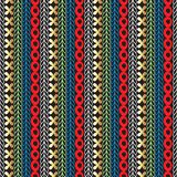 Colorful seamless borders pattern. Vector ornamental tribal striped background. Ethnic style ornament with braided lines, shapes,. Circles, flowers. Repeat royalty free illustration
