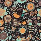 Colorful seamless botanic texture, detailed flowers illustrations Stock Photo
