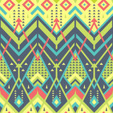Colorful Seamless Chevron Pattern for Textile Design. Geometrical Vector Background with Triangles, Stripes and Rhombuses stock illustration