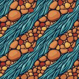 Vector seamless background pattern with river and stones. Colorful seamless comics style background pattern with river and stones royalty free illustration