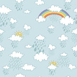 Colorful seamless decorative pattern with abstract clouds. Stock Photography
