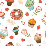 Colorful seamless desserts pattern Royalty Free Stock Images