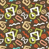 Colorful Seamless doodle art pattern vector illustration in brow stock illustration