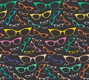Colorful seamless eyeglasses pattern on dark background. Glasses texture. Vector illustration Royalty Free Stock Photography