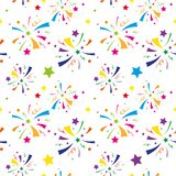 Vector seamless fireworks pattern. Colorful  seamless fireworks pattern Stock Images
