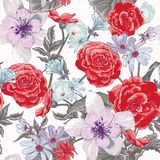 Colorful seamless floral pattern with wildflowers Stock Photography