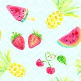 Seamless fruits watercolor vector background