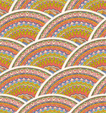 Colorful Seamless Hand-Drawn Pattern. Vector Waves Background. Royalty Free Stock Photos