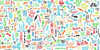 Colorful seamless hand drawn school note doodles pattern with robots, headphones, pizza, and funny phrases. vector illustration