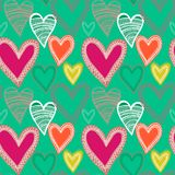 Colorful seamless heart pattern. Colorful seamless hand-drawn heart pattern Royalty Free Stock Photos