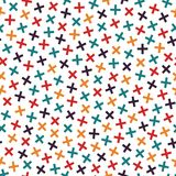 Colorful seamless memphis pattern in bright colors. Mosaic crosses texture.  Stock Image