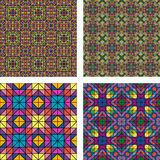 Colorful seamless mosaic pattern background set Stock Photography
