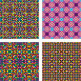 Colorful seamless mosaic pattern background set. Colorful seamless triangle mosaic pattern background set Stock Photography