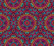 Colorful seamless mosaic pattern. Vector Tribal indian vintage ethnic seamless design. Festive colorful flower mandala pattern Stock Photos
