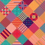 Colorful seamless patchwork pattern. Cute multicolor quilt Royalty Free Stock Photo
