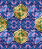Colorful seamless patchwork pattern with ethnic ornaments Stock Images