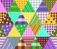 Colorful seamless patchwork pattern. Geometric triangle tiles. Royalty Free Stock Photography